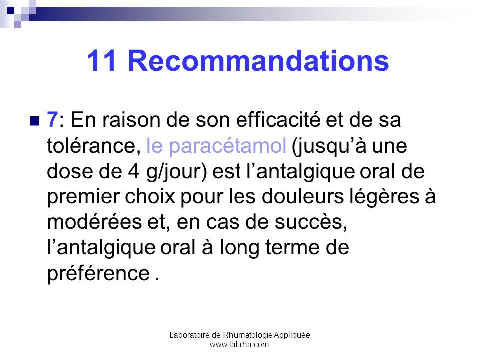 11 Recommandations 8:Les AINS par voie orale à la dose efficace la plus faible possible, pour la durée la plus courte possible devraient être utilisés chez les patients ne répondant pas correctement au paracétamol.