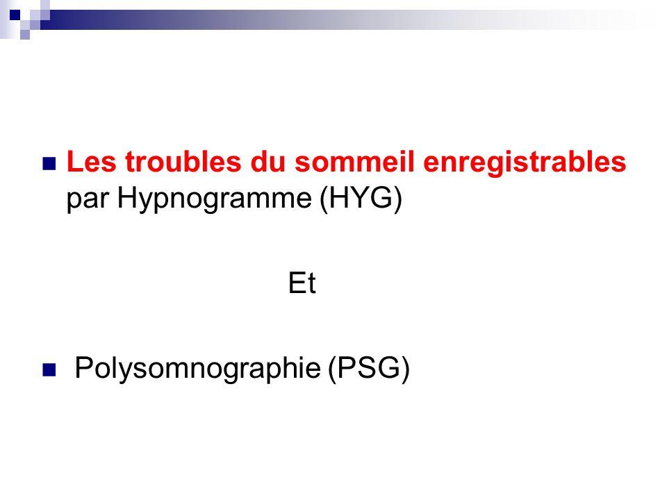 Les troubles du sommeil enregistrables par Hypnogramme (HYG) Et Polysomnographie (PSG)