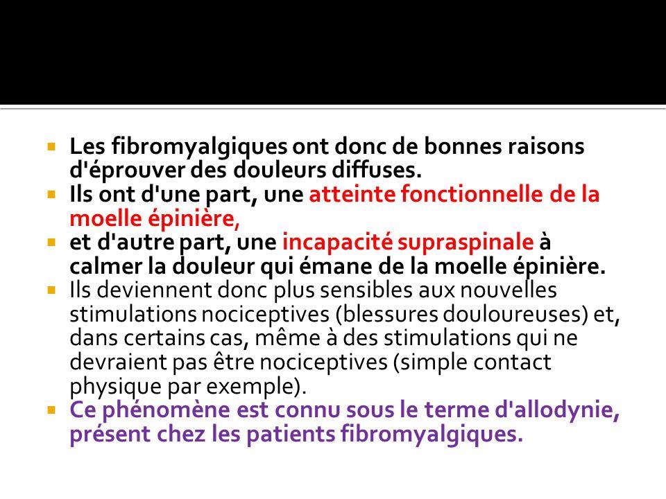Les fibromyalgiques ont donc de bonnes raisons d'éprouver des douleurs diffuses. Ils ont d'une part, une atteinte fonctionnelle de la moelle épinière,