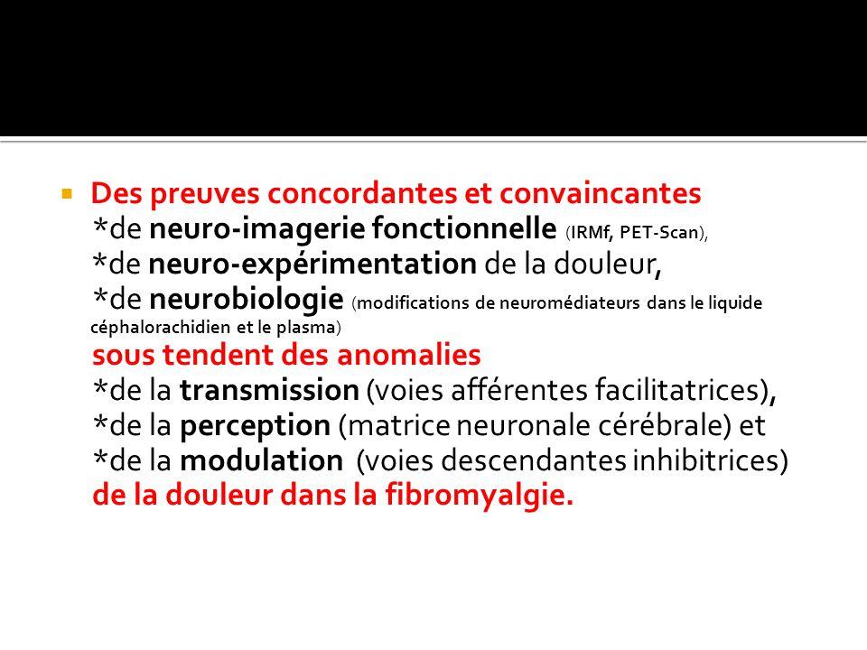 Des preuves concordantes et convaincantes *de neuro-imagerie fonctionnelle (IRMf, PET-Scan), *de neuro-expérimentation de la douleur, *de neurobiologi