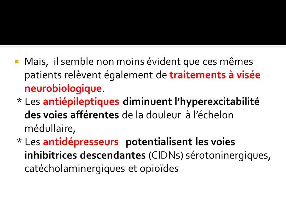 Mais, il semble non moins évident que ces mêmes patients relèvent également de traitements à visée neurobiologique. * Les antiépileptiques diminuent l
