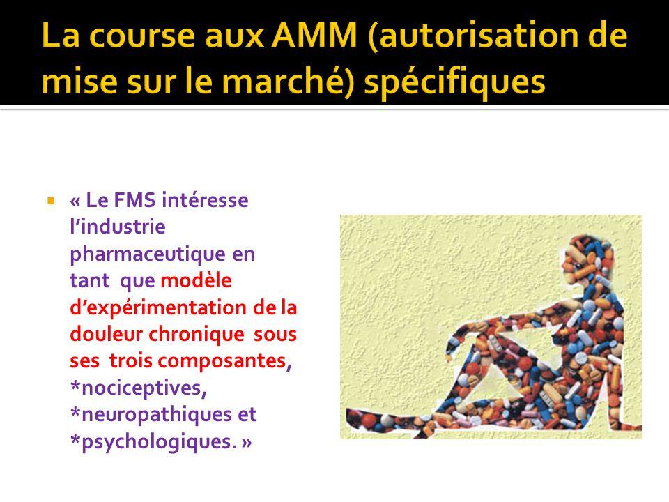 « Le FMS intéresse lindustrie pharmaceutique en tant que modèle dexpérimentation de la douleur chronique sous ses trois composantes, *nociceptives, *n