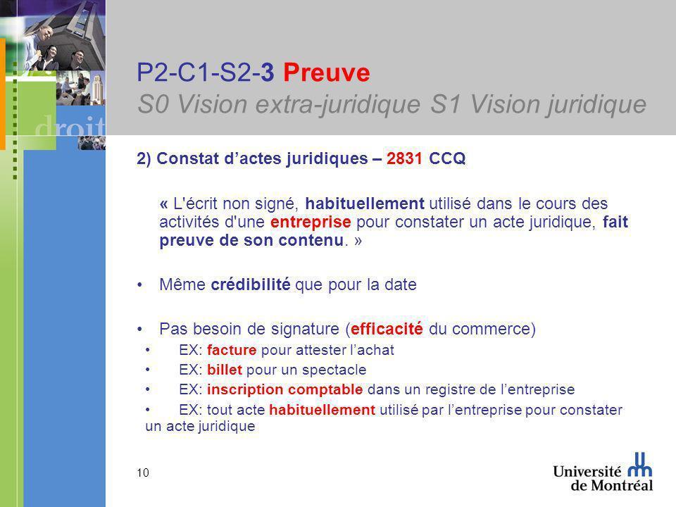10 P2-C1-S2-3 Preuve S0 Vision extra-juridique S1 Vision juridique 2) Constat dactes juridiques – 2831 CCQ « L écrit non signé, habituellement utilisé dans le cours des activités d une entreprise pour constater un acte juridique, fait preuve de son contenu.