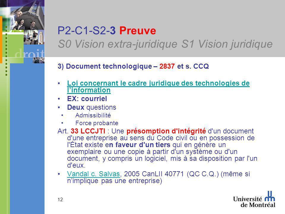 12 P2-C1-S2-3 Preuve S0 Vision extra-juridique S1 Vision juridique 3) Document technologique – 2837 et s.