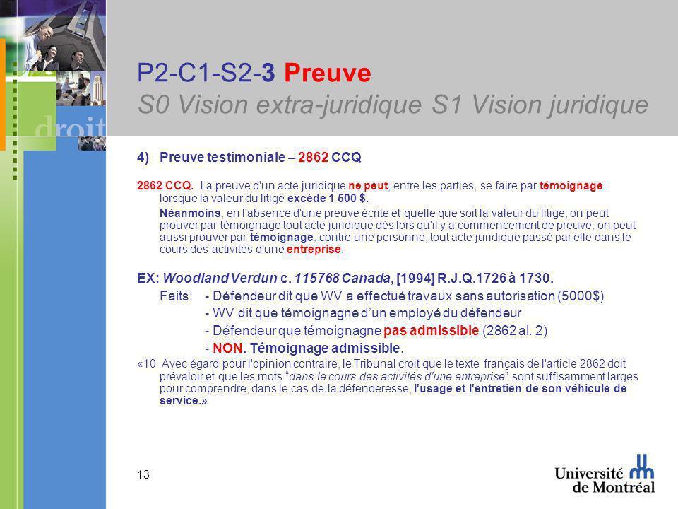 13 P2-C1-S2-3 Preuve S0 Vision extra-juridique S1 Vision juridique 4)Preuve testimoniale – 2862 CCQ 2862 CCQ.