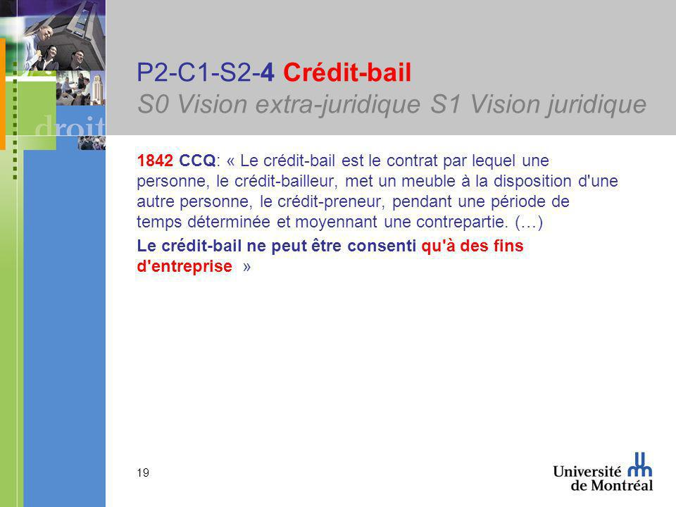 19 P2-C1-S2-4 Crédit-bail S0 Vision extra-juridique S1 Vision juridique 1842 CCQ: « Le crédit-bail est le contrat par lequel une personne, le crédit-bailleur, met un meuble à la disposition d une autre personne, le crédit-preneur, pendant une période de temps déterminée et moyennant une contrepartie.