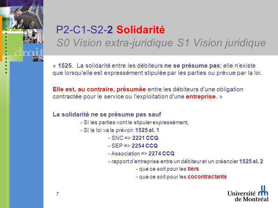 7 P2-C1-S2-2 Solidarité S0 Vision extra-juridique S1 Vision juridique « 1525.