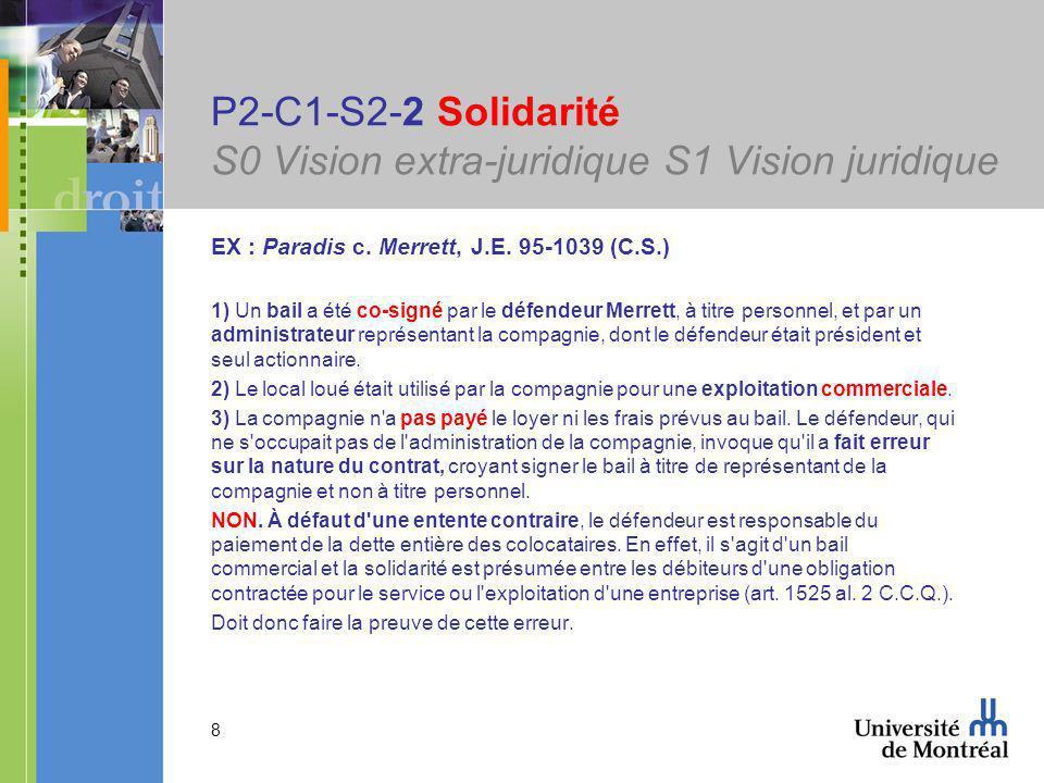 8 P2-C1-S2-2 Solidarité S0 Vision extra-juridique S1 Vision juridique EX : Paradis c.