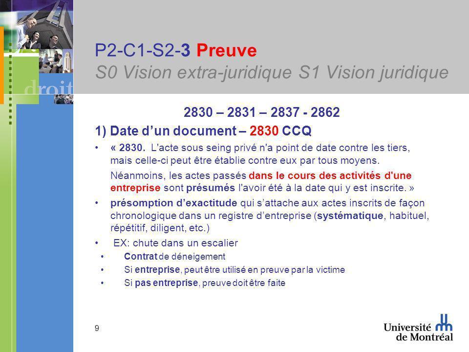 9 P2-C1-S2-3 Preuve S0 Vision extra-juridique S1 Vision juridique 2830 – 2831 – 2837 - 2862 1) Date dun document – 2830 CCQ « 2830.