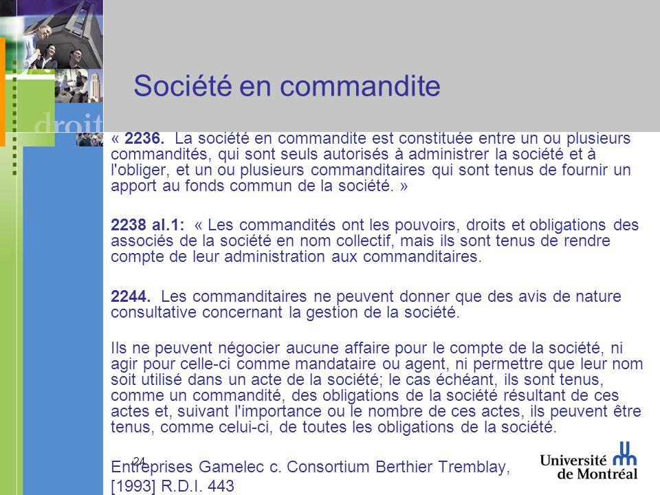 24 Société en commandite « 2236.