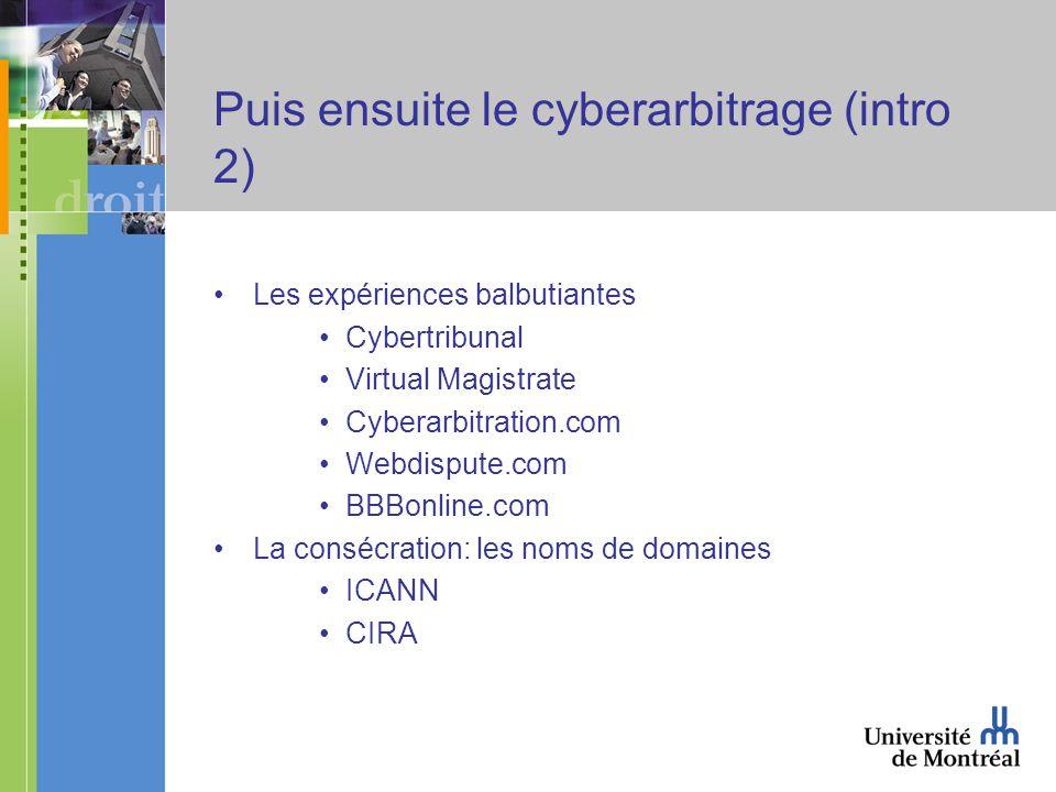 Puis ensuite le cyberarbitrage (intro 2) Les expériences balbutiantes Cybertribunal Virtual Magistrate Cyberarbitration.com Webdispute.com BBBonline.com La consécration: les noms de domaines ICANN CIRA