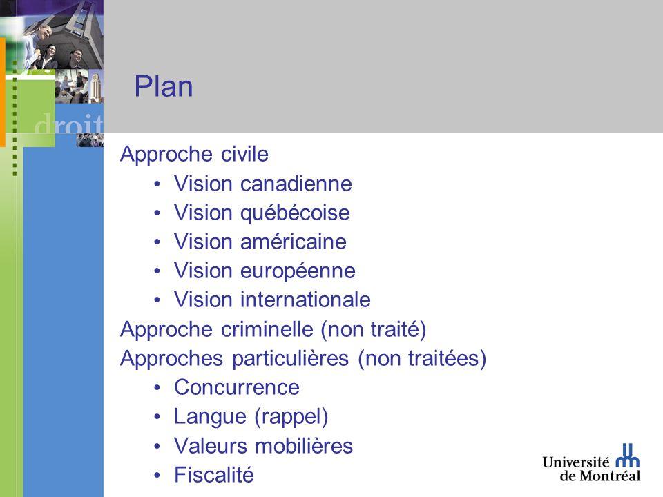 Plan Approche civile Vision canadienne Vision québécoise Vision américaine Vision européenne Vision internationale Approche criminelle (non traité) Approches particulières (non traitées) Concurrence Langue (rappel) Valeurs mobilières Fiscalité