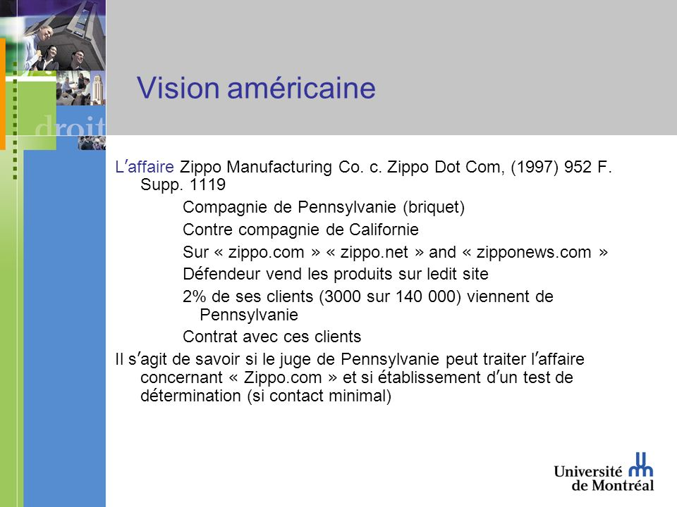 Vision américaine L affaire Zippo Manufacturing Co.
