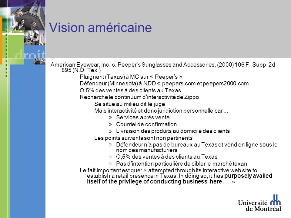 Vision américaine American Eyewear, Inc. c. Peeper's Sunglasses and Accessories, (2000) 106 F. Supp. 2d 895 (N.D. Tex.) Plaignant (Texas) à MC sur « P