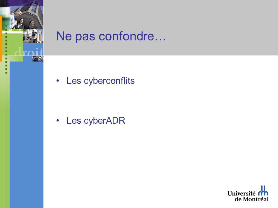 Ne pas confondre… Les cyberconflits Les cyberADR