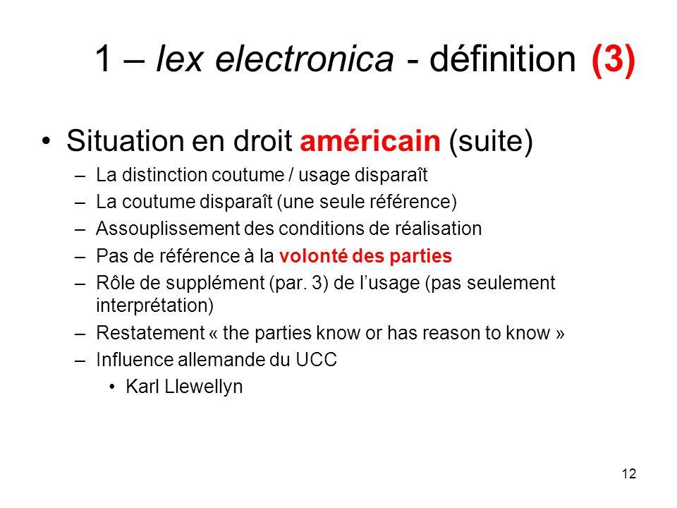 12 1 – lex electronica - définition (3) Situation en droit américain (suite) –La distinction coutume / usage disparaît –La coutume disparaît (une seul