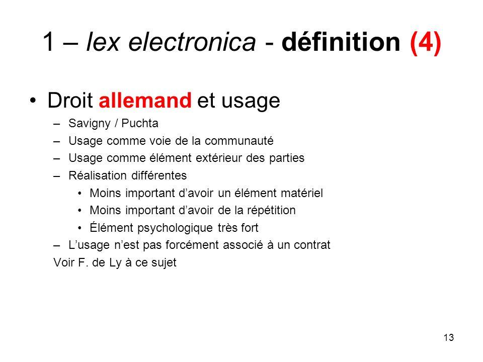 13 1 – lex electronica - définition (4) Droit allemand et usage –Savigny / Puchta –Usage comme voie de la communauté –Usage comme élément extérieur de