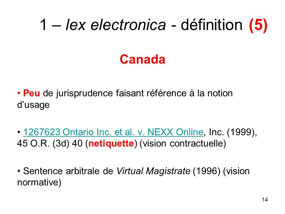 14 1 – lex electronica - définition (5) Canada Peu de jurisprudence faisant référence à la notion dusage 1267623 Ontario Inc.