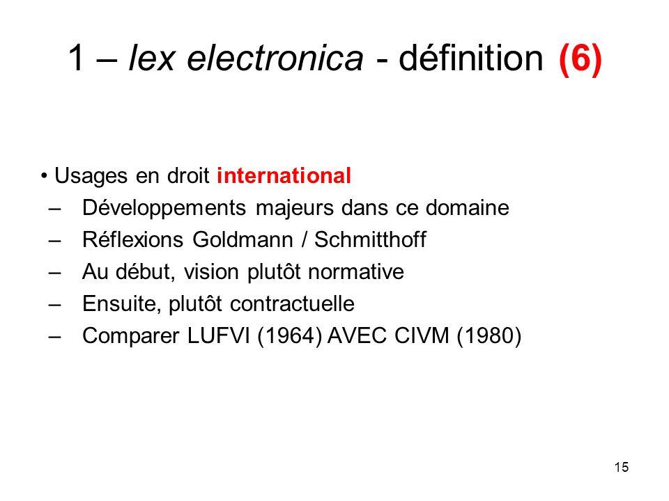 15 1 – lex electronica - définition (6) Usages en droit international –Développements majeurs dans ce domaine –Réflexions Goldmann / Schmitthoff –Au début, vision plutôt normative –Ensuite, plutôt contractuelle –Comparer LUFVI (1964) AVEC CIVM (1980)