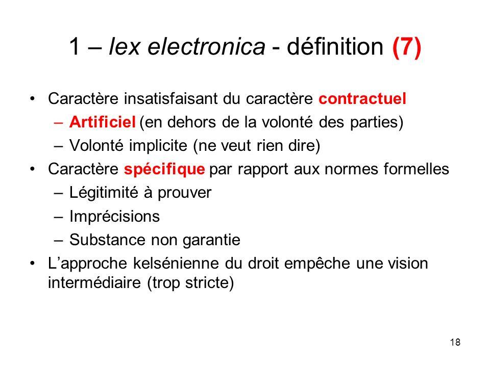 18 1 – lex electronica - définition (7) Caractère insatisfaisant du caractère contractuel –Artificiel (en dehors de la volonté des parties) –Volonté i