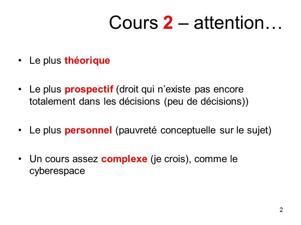 2 Cours 2 – attention… Le plus théorique Le plus prospectif (droit qui nexiste pas encore totalement dans les décisions (peu de décisions)) Le plus pe