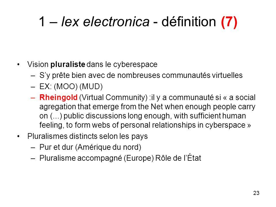 23 1 – lex electronica - définition (7) Vision pluraliste dans le cyberespace –Sy prête bien avec de nombreuses communautés virtuelles –EX: (MOO) (MUD
