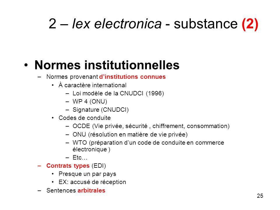 25 2 – lex electronica - substance (2) Normes institutionnelles –Normes provenant dinstitutions connues À caractère international –Loi modèle de la CN