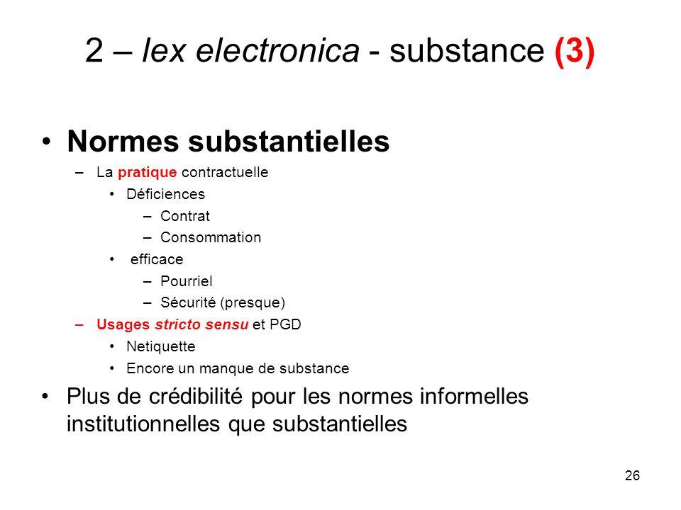 26 2 – lex electronica - substance (3) Normes substantielles –La pratique contractuelle Déficiences –Contrat –Consommation efficace –Pourriel –Sécurit