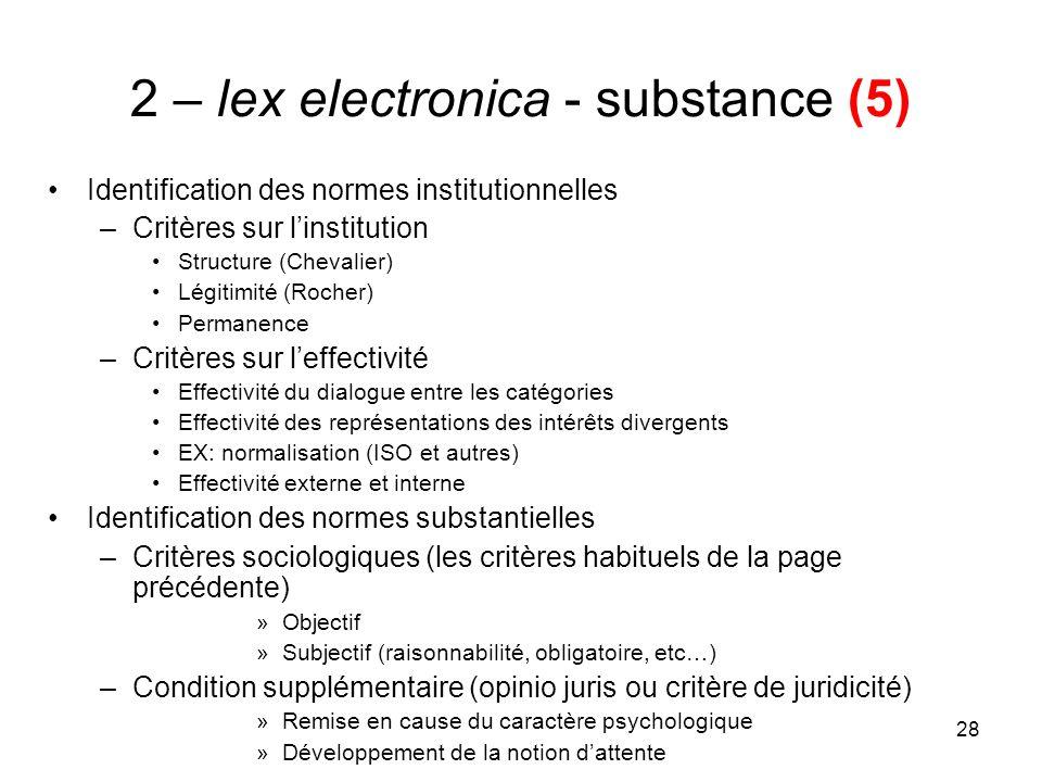 28 2 – lex electronica - substance (5) Identification des normes institutionnelles –Critères sur linstitution Structure (Chevalier) Légitimité (Rocher