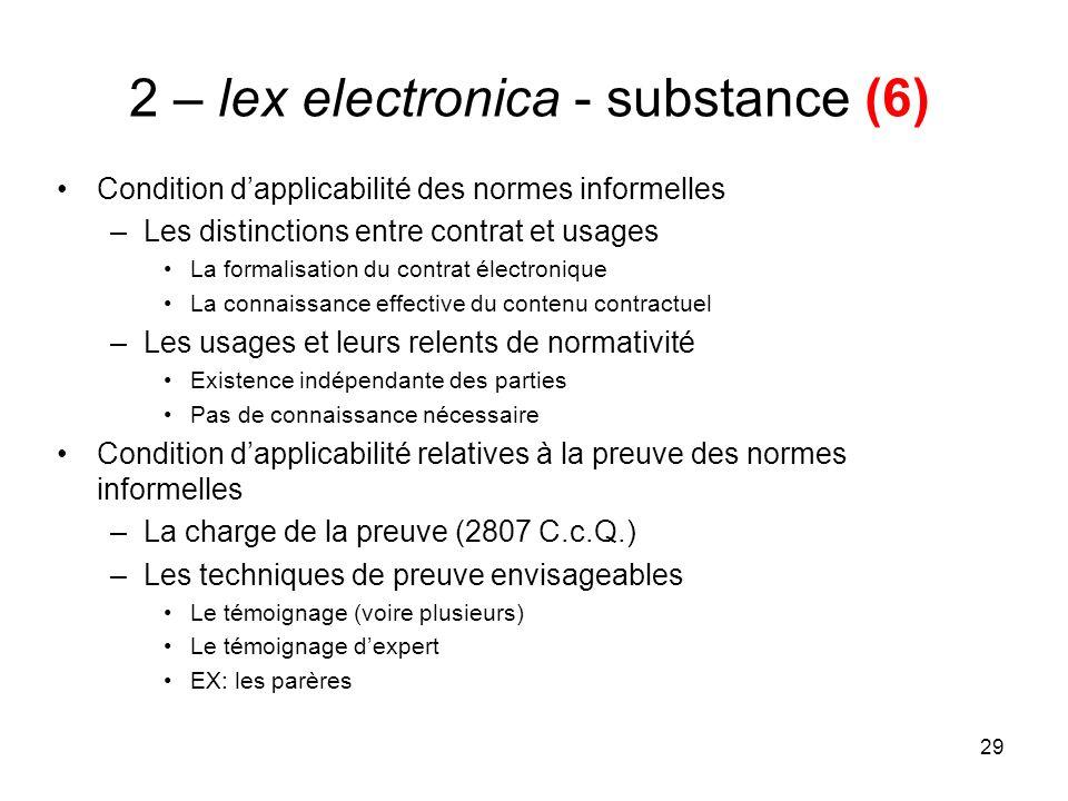 29 2 – lex electronica - substance (6) Condition dapplicabilité des normes informelles –Les distinctions entre contrat et usages La formalisation du c
