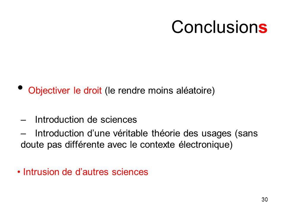 30 Conclusions Objectiver le droit (le rendre moins aléatoire) –Introduction de sciences –Introduction dune véritable théorie des usages (sans doute p