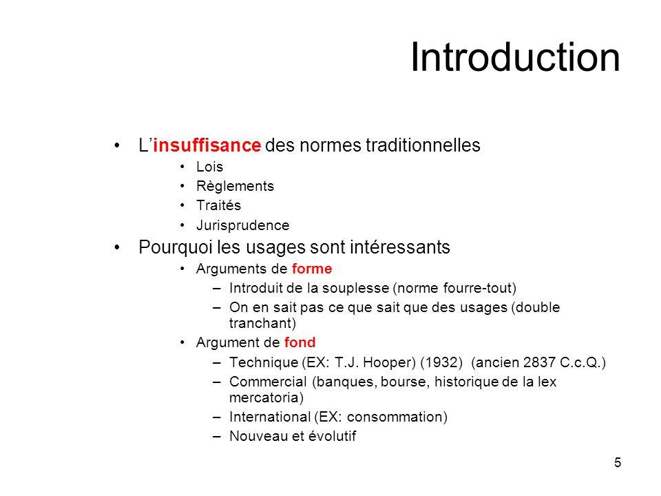 5 Introduction Linsuffisance des normes traditionnelles Lois Règlements Traités Jurisprudence Pourquoi les usages sont intéressants Arguments de forme