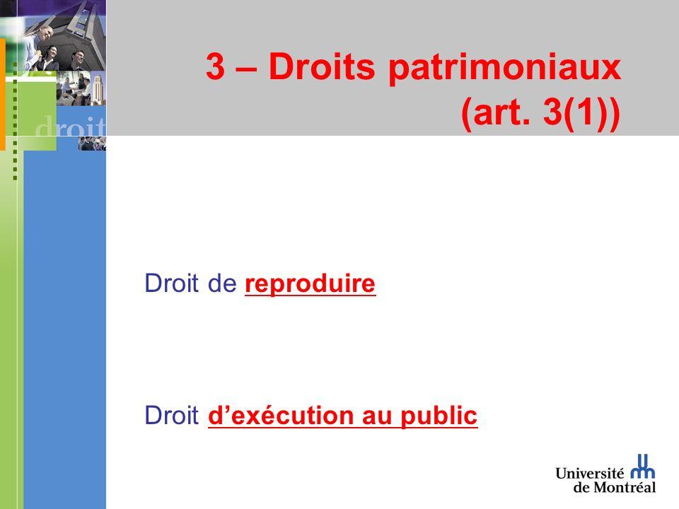 3 – Droits patrimoniaux (art. 3(1)) Droit de reproduire Droit dexécution au public