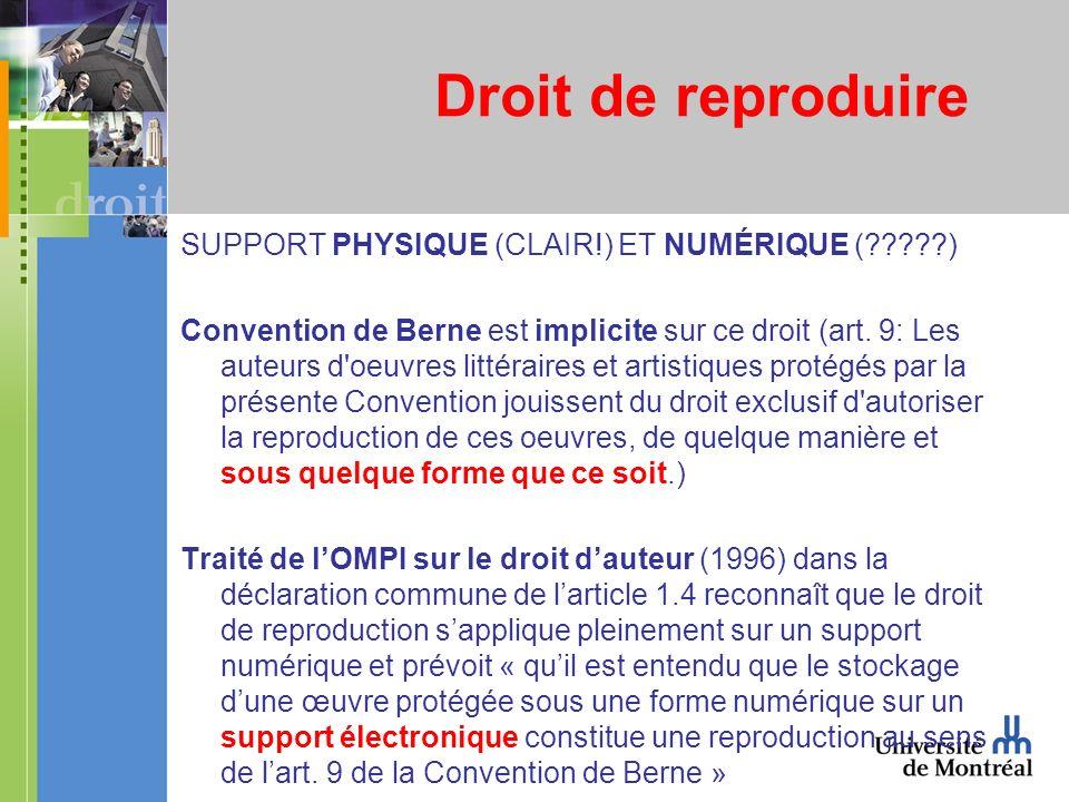 Droit de reproduire SUPPORT PHYSIQUE (CLAIR!) ET NUMÉRIQUE ( ) Convention de Berne est implicite sur ce droit (art.