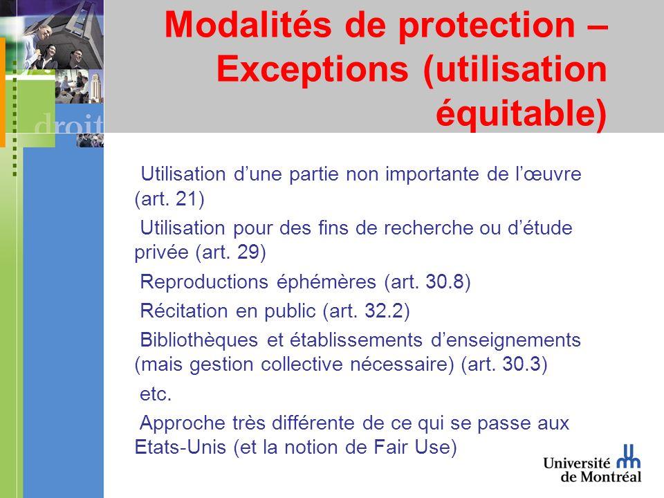 Modalités de protection – Exceptions (utilisation équitable) Utilisation dune partie non importante de lœuvre (art. 21) Utilisation pour des fins de r