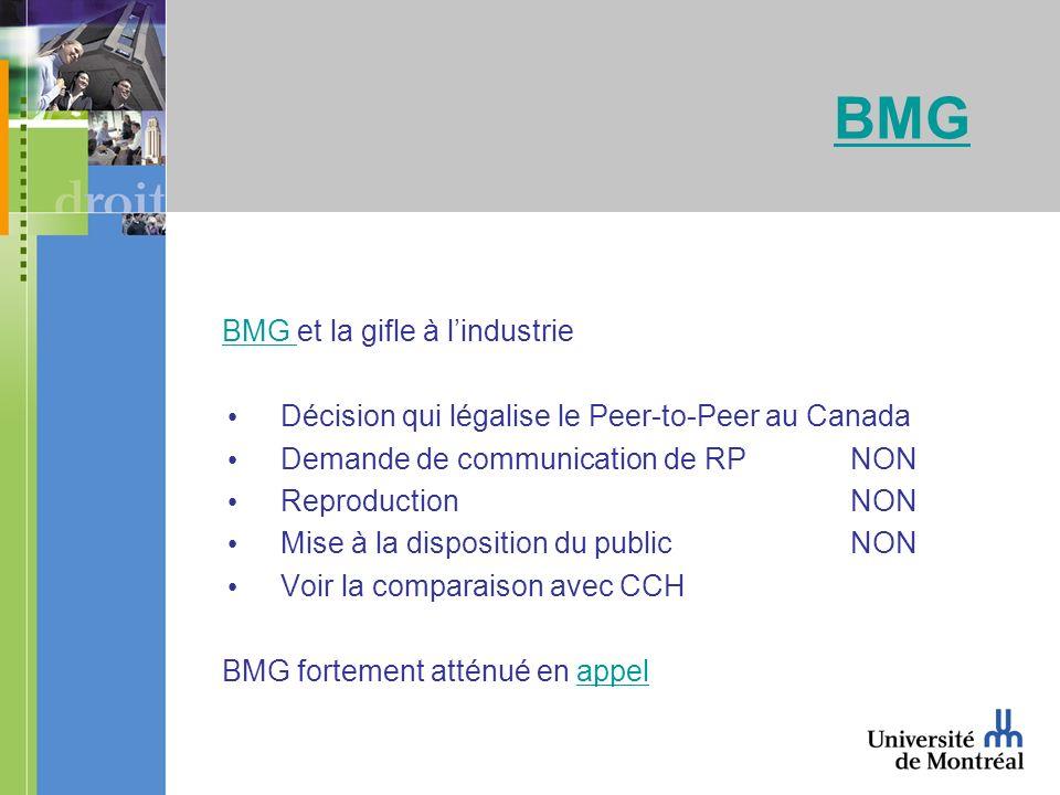 BMG BMG et la gifle à lindustrieBMG Décision qui légalise le Peer-to-Peer au Canada Demande de communication de RPNON Reproduction NON Mise à la disposition du public NON Voir la comparaison avec CCH BMG fortement atténué en appelappel