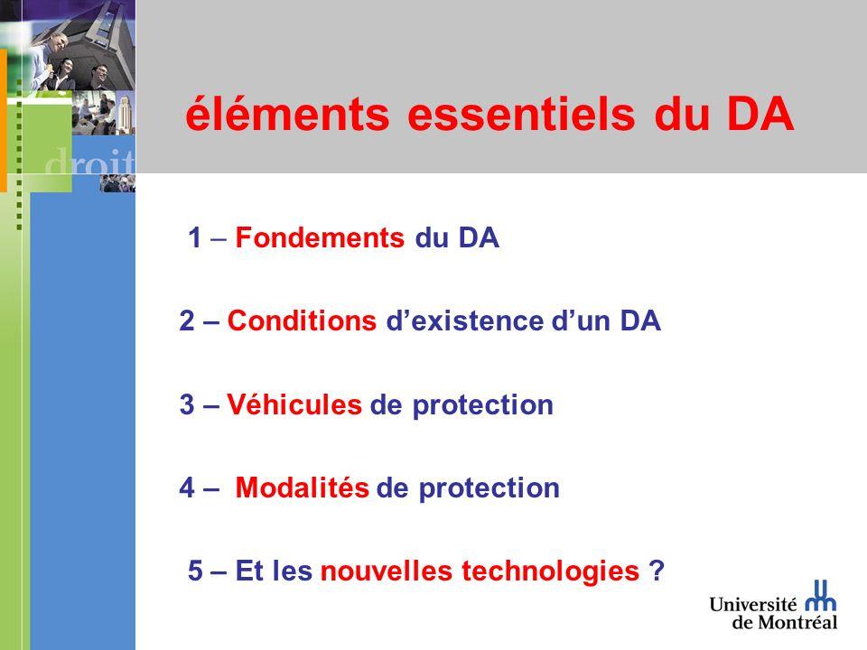 éléments essentiels du DA 1 – Fondements du DA 2 – Conditions dexistence dun DA 3 – Véhicules de protection 4 – Modalités de protection 5 – Et les nouvelles technologies ?