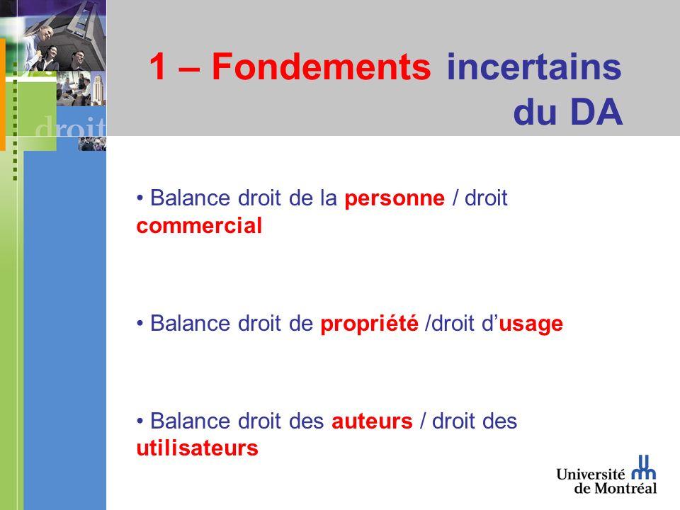 1 – Fondements incertains du DA Balance droit de la personne / droit commercial Balance droit de propriété /droit dusage Balance droit des auteurs / droit des utilisateurs