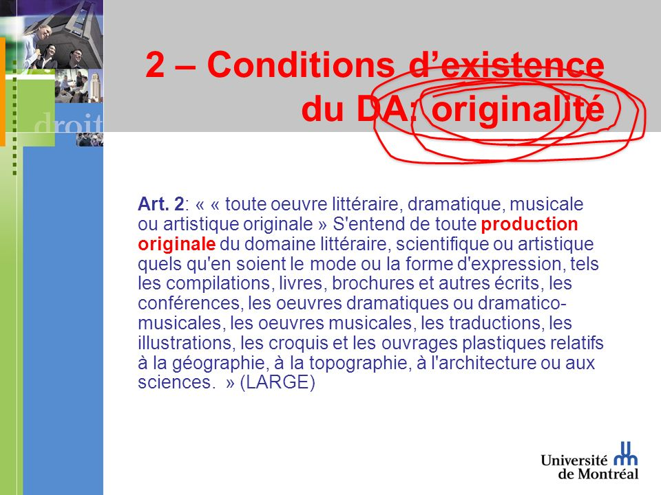 2 – Conditions dexistence du DA: originalité Art.
