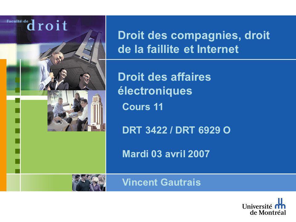 Droit des compagnies, droit de la faillite et Internet Droit des affaires électroniques Cours 11 DRT 3422 / DRT 6929 O Mardi 03 avril 2007 Vincent Gautrais