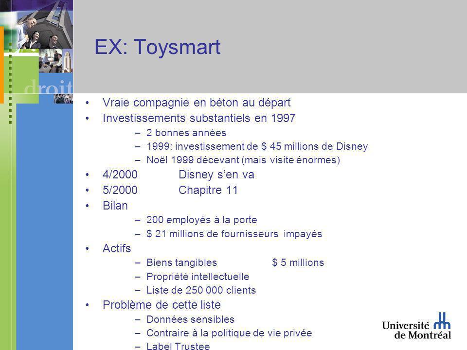 EX: Toysmart Vraie compagnie en béton au départ Investissements substantiels en 1997 –2 bonnes années –1999: investissement de $ 45 millions de Disney –Noël 1999 décevant (mais visite énormes) 4/2000Disney sen va 5/2000Chapitre 11 Bilan –200 employés à la porte –$ 21 millions de fournisseurs impayés Actifs –Biens tangibles $ 5 millions –Propriété intellectuelle –Liste de 250 000 clients Problème de cette liste –Données sensibles –Contraire à la politique de vie privée –Label Trustee
