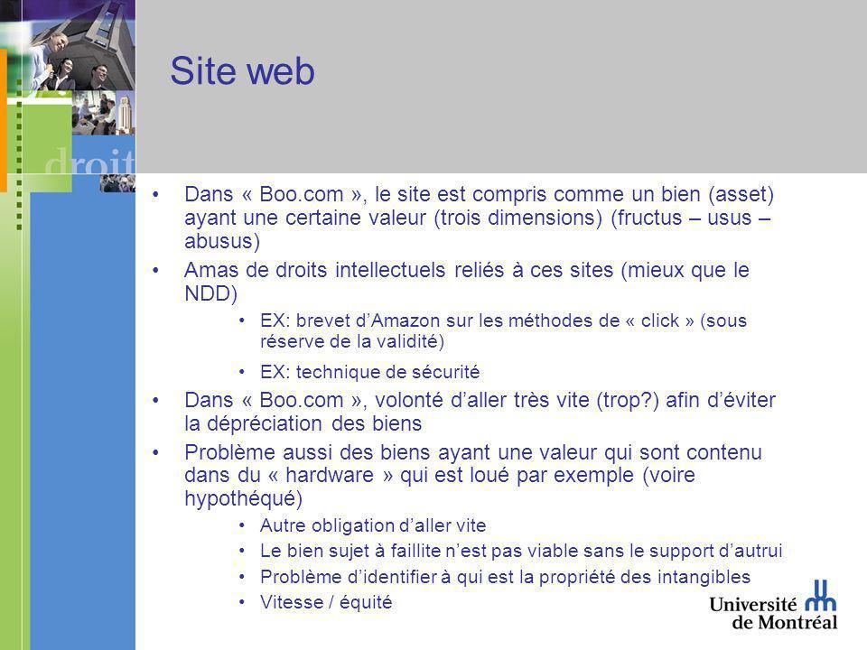 Site web Dans « Boo.com », le site est compris comme un bien (asset) ayant une certaine valeur (trois dimensions) (fructus – usus – abusus) Amas de droits intellectuels reliés à ces sites (mieux que le NDD) EX: brevet dAmazon sur les méthodes de « click » (sous réserve de la validité) EX: technique de sécurité Dans « Boo.com », volonté daller très vite (trop?) afin déviter la dépréciation des biens Problème aussi des biens ayant une valeur qui sont contenu dans du « hardware » qui est loué par exemple (voire hypothéqué) Autre obligation daller vite Le bien sujet à faillite nest pas viable sans le support dautrui Problème didentifier à qui est la propriété des intangibles Vitesse / équité