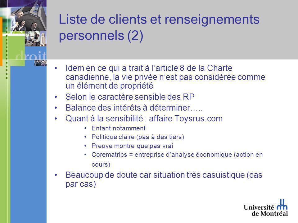 Liste de clients et renseignements personnels (2) Idem en ce qui a trait à larticle 8 de la Charte canadienne, la vie privée nest pas considérée comme un élément de propriété Selon le caractère sensible des RP Balance des intérêts à déterminer…..