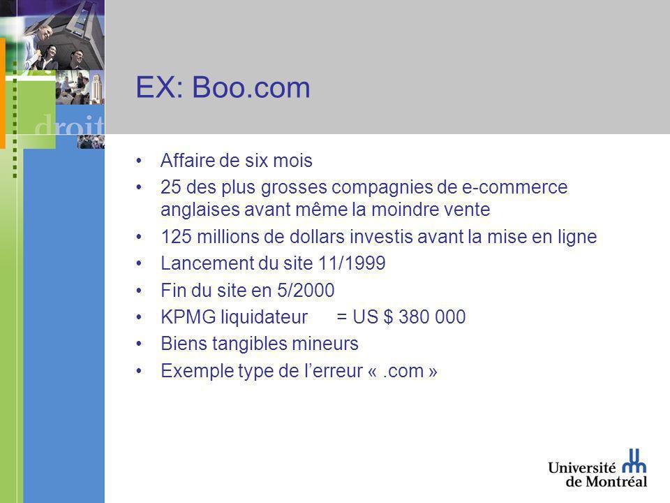 EX: Boo.com Affaire de six mois 25 des plus grosses compagnies de e-commerce anglaises avant même la moindre vente 125 millions de dollars investis avant la mise en ligne Lancement du site 11/1999 Fin du site en 5/2000 KPMG liquidateur= US $ 380 000 Biens tangibles mineurs Exemple type de lerreur «.com »