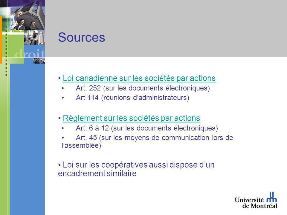 Sources Loi canadienne sur les sociétés par actions Art.