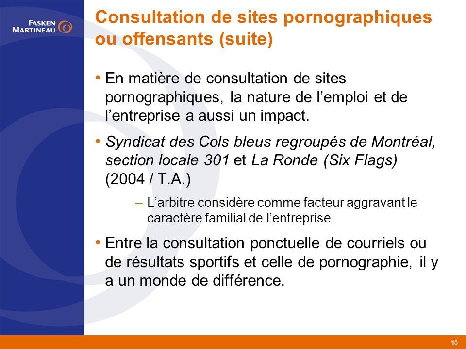 10 Consultation de sites pornographiques ou offensants (suite) En matière de consultation de sites pornographiques, la nature de lemploi et de lentreprise a aussi un impact.