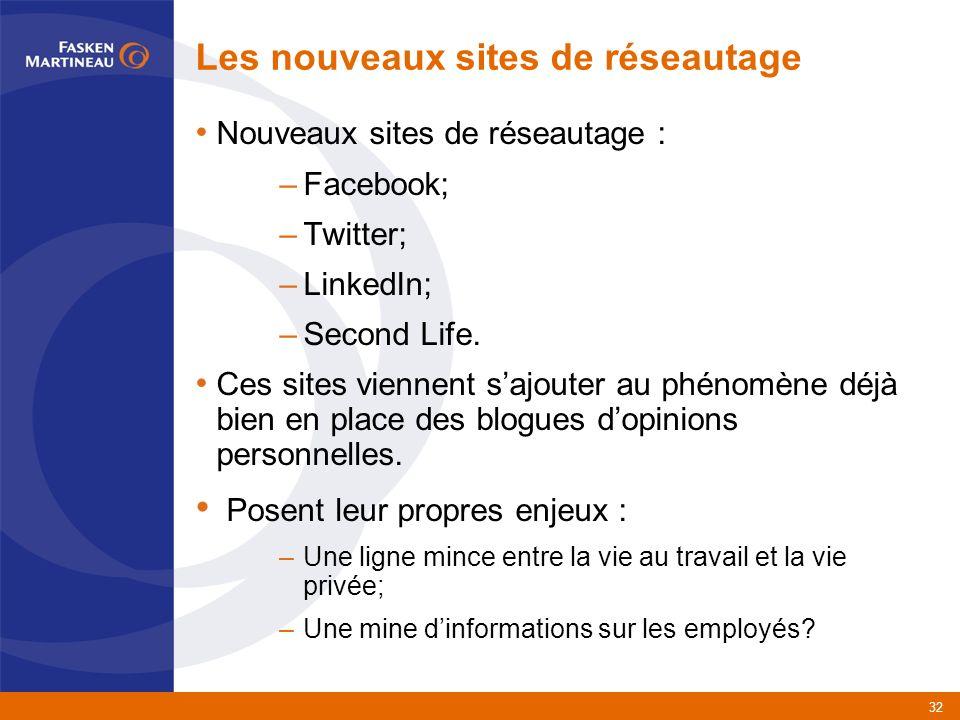 32 Les nouveaux sites de réseautage Nouveaux sites de réseautage : –Facebook; –Twitter; –LinkedIn; –Second Life.