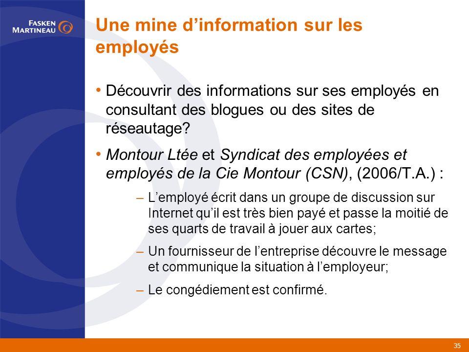 35 Une mine dinformation sur les employés Découvrir des informations sur ses employés en consultant des blogues ou des sites de réseautage.