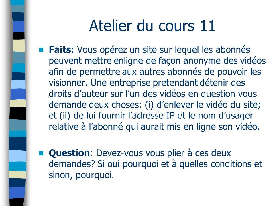 Atelier du cours 11 Faits: Vous opérez un site sur lequel les abonnés peuvent mettre enligne de façon anonyme des vidéos afin de permettre aux autres