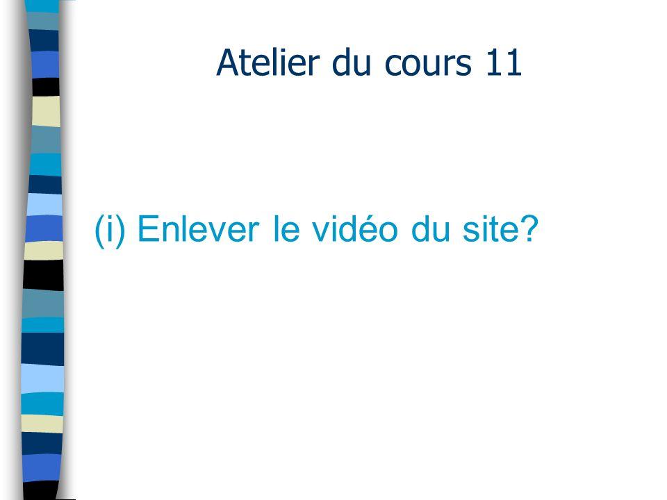 Atelier du cours 11 (i) Enlever le vidéo du site.–Hébergeur.